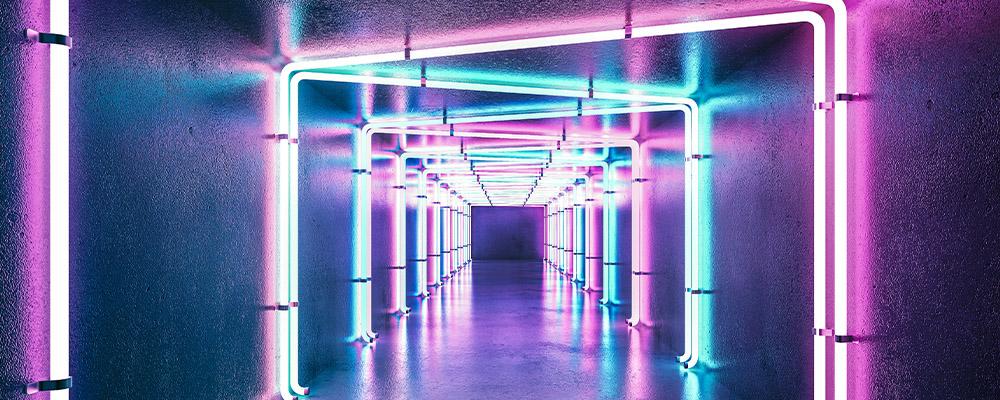 illuminazione led in un corridoio